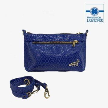 bolsa azul com alca removivel verniz sonia produto oficial licenciado cruzeiro frente1