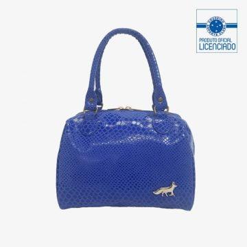 bolsa azul com verniz viviane produto oficial licenciado cruzeiro frente
