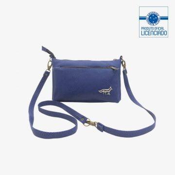 bolsa azul croco com alca regulavel produto oficial licenciado cruzeiro f02
