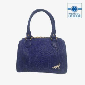 bolsa azul textura croco produto oficial licenciado cruzeiro frente