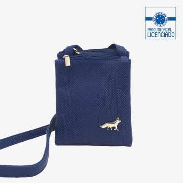 bolsa croco azul balada produto oficial licenciado cruzeiro frente