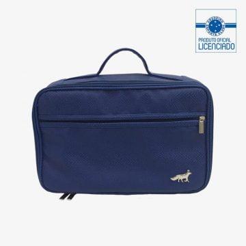 maleta azul material sintetico produto oficial licenciado cruzeiro frente