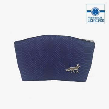 necessaire azul textura croco primavera produto oficial licenciado cruzeiro frente