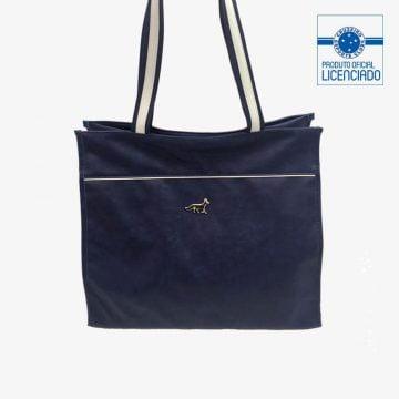 bolsa azul mercosul material sintetico produto oficial licenciado cruzeiro frente