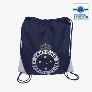 mochila saco azul super copa marinho produto oficial licenciado cruzeiro frente