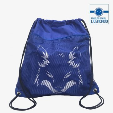 mochila saco com bolso raposa produto oficial licenciado cruzeiro frente