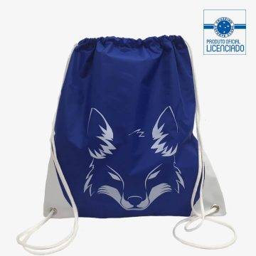 mochila saco raposa produto oficial licenciado cruzeiro frente
